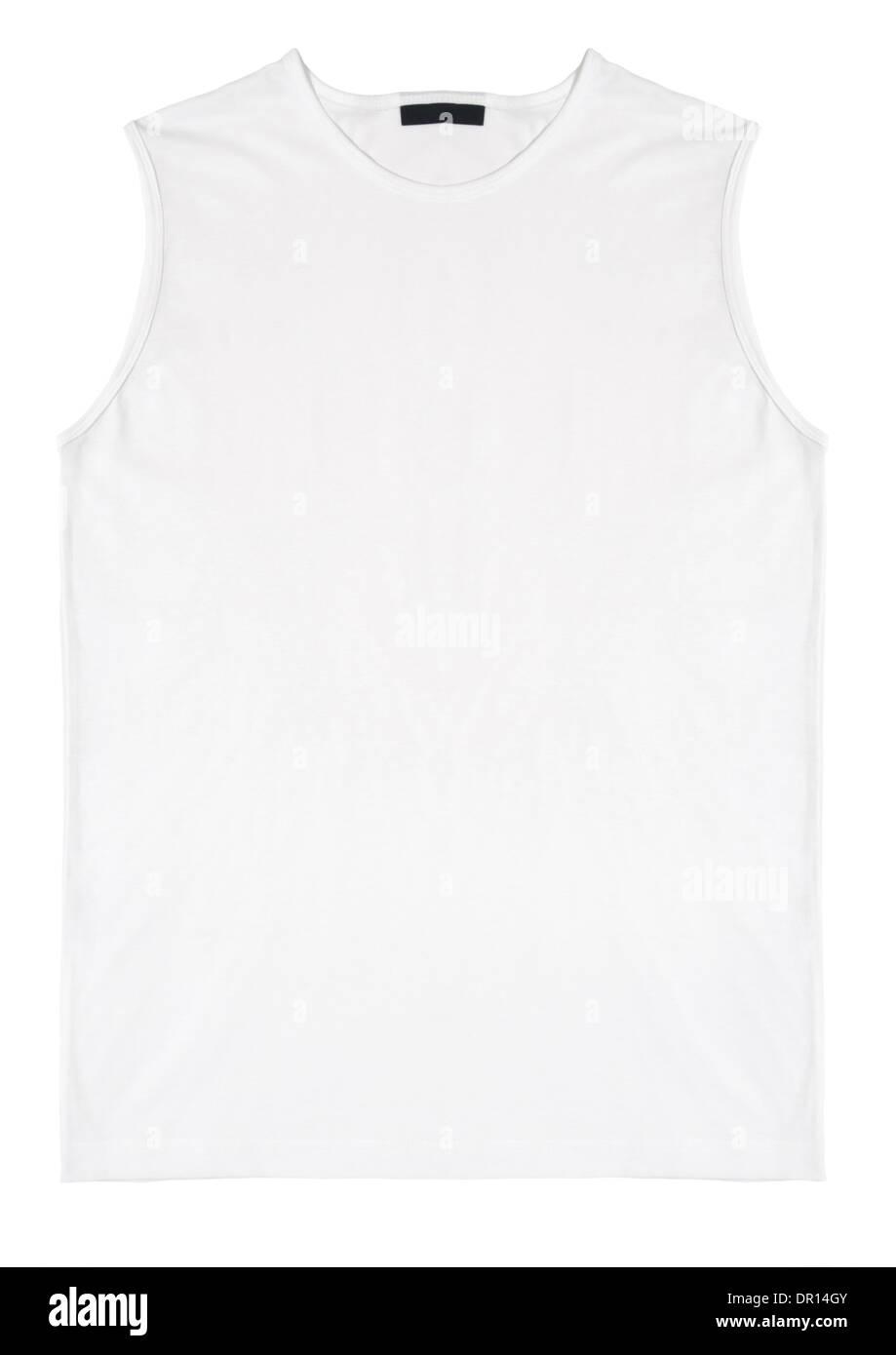 White sleeveless t-shirt on white background - Stock Image