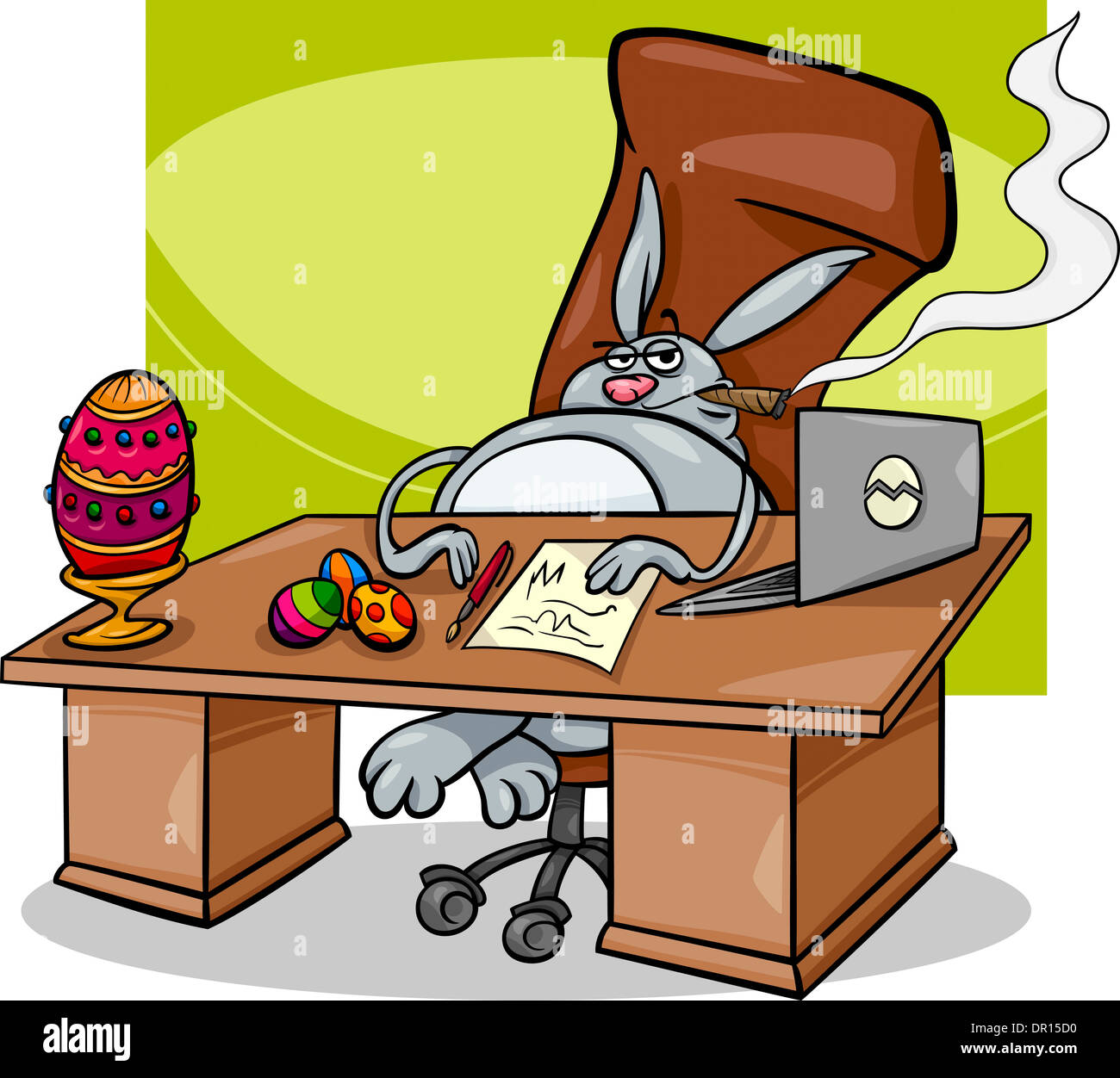Cartoon Concept Humor Illustration Of Funny Easter Bunny Businessman
