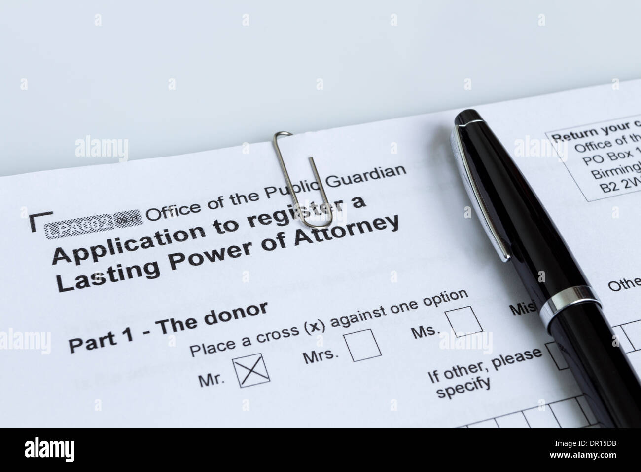 Application to Register a Lasting Power of Attorney From the Office of the Public Guardian with Pen UK - Stock Image