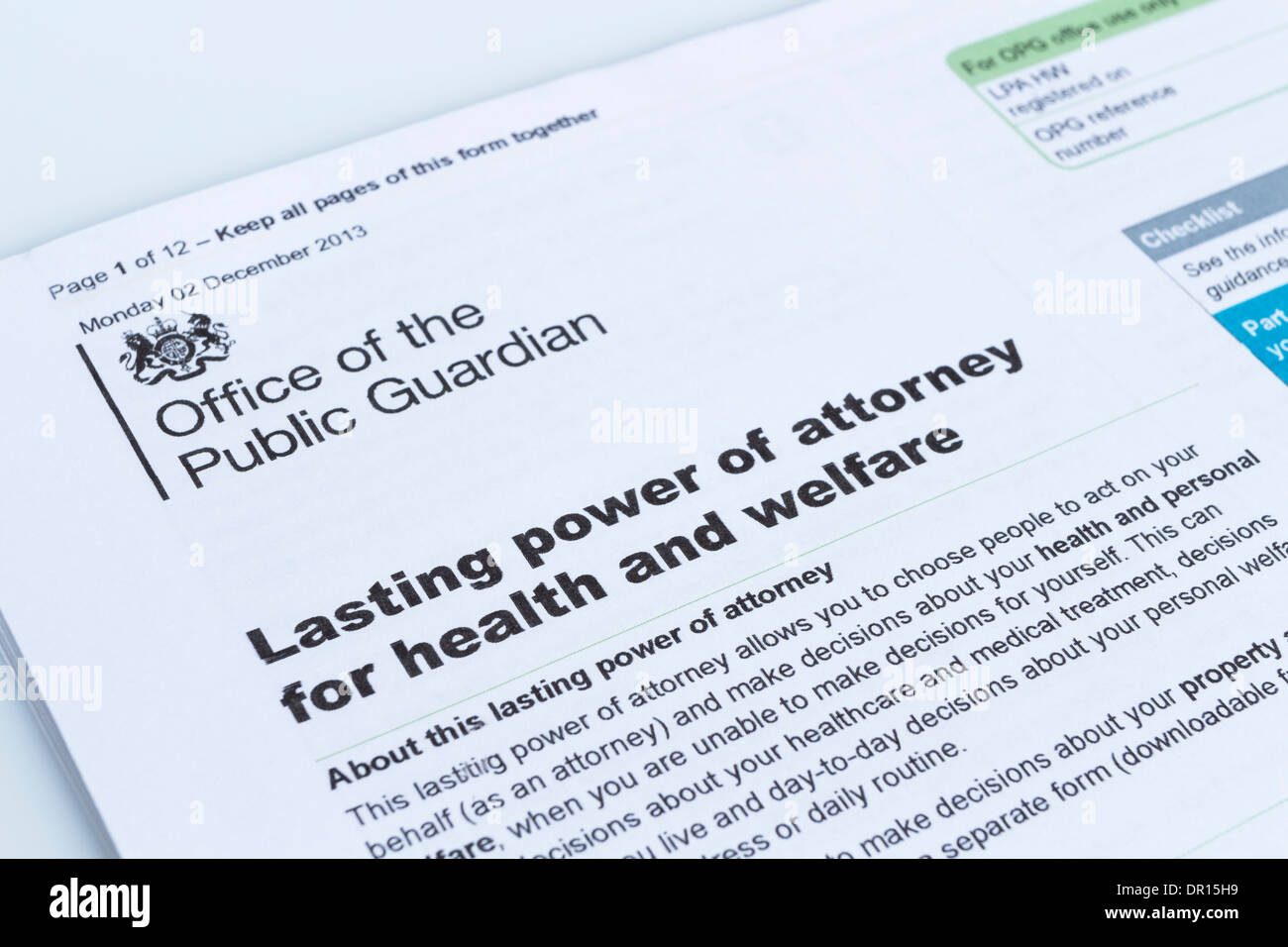 Lasting Power of Attorney for Health and Welfare Form From the Office of the Public Guardian UK - Stock Image