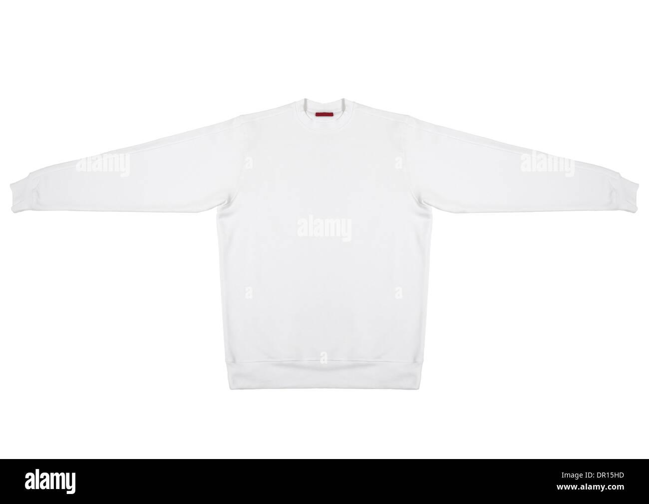 White sweatshirt on white background Stock Photo