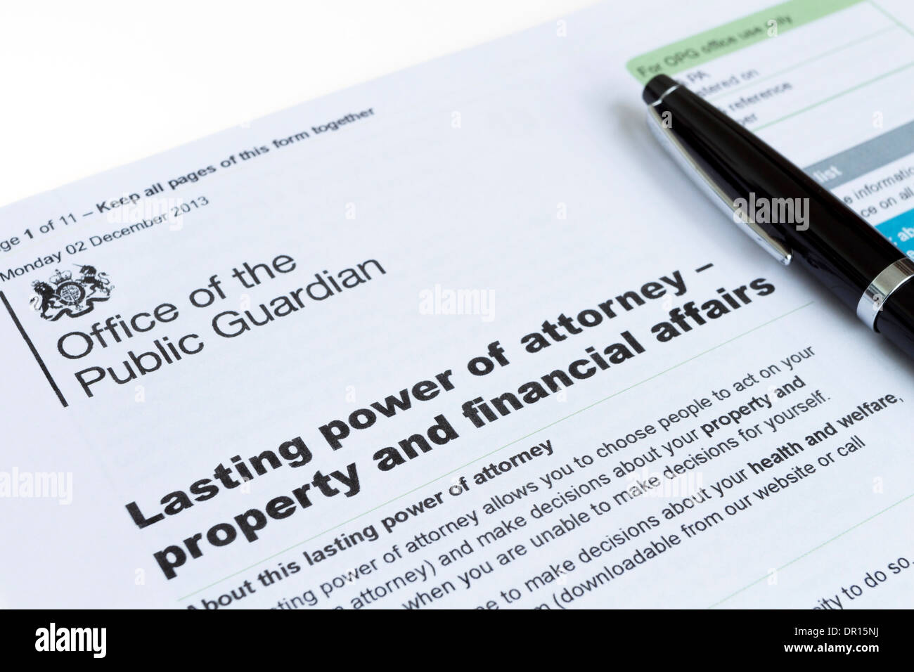 Lasting Power of Attorney Property and Financial Affairs Form From the Office of the Public Guardian UK - Stock Image