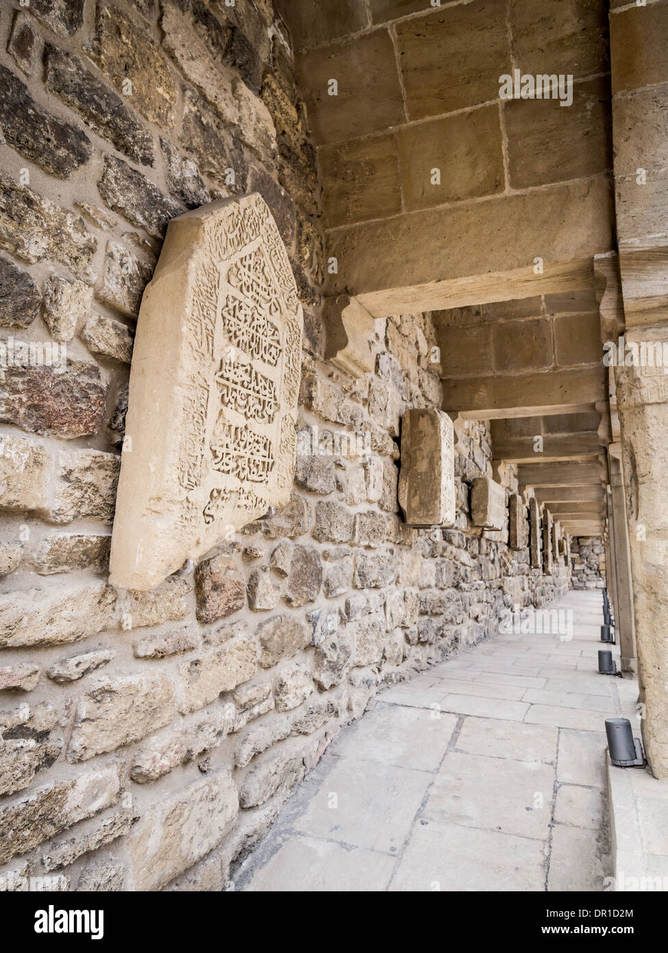 Courtyard with lapidarium in Icheri Sheher (Old Town) of Baku, Azerbaijan - Stock Image