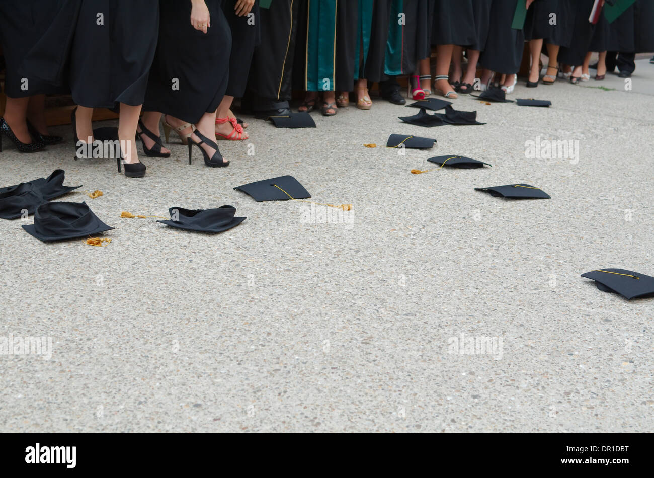 Fallen Square Academic Caps at Graduation Ceremony - Stock Image