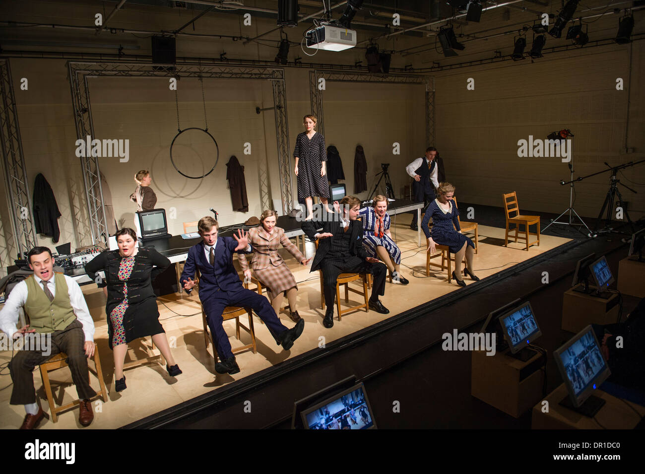 Welsh language theatre studies students performing actors acting in 5:7, a multimedia drama at Aberystwyth university, Stock Photo