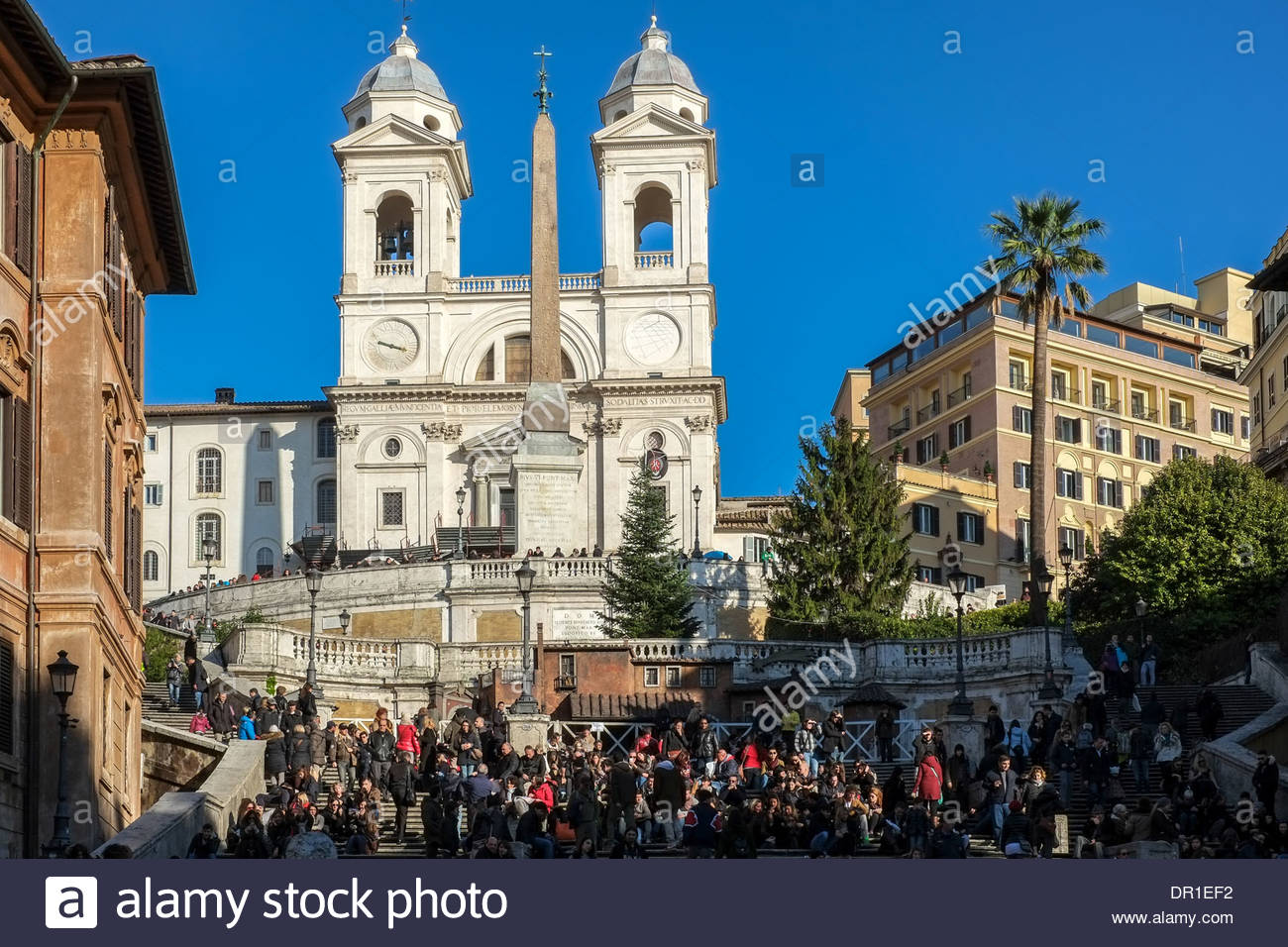 Spanish Steps Stairs in Rome Italy - Stock Image