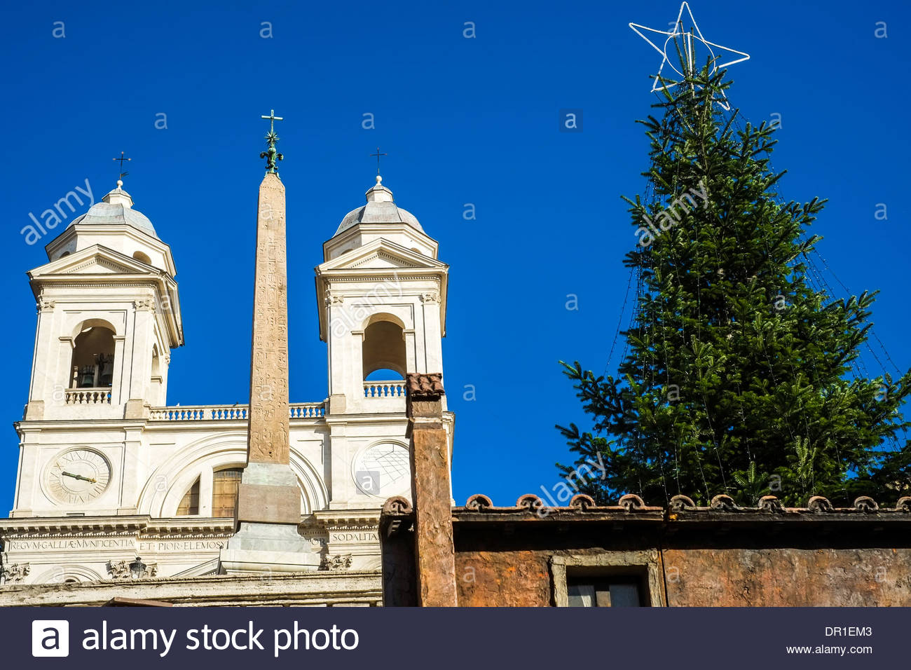 Piazza di Spagna Christmas tree Spanish steps stairs Rome Italy - Stock Image
