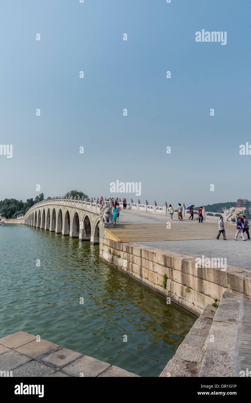 Seventeen Holes Bridge in Summer Palace, Beijing, China - Stock Image