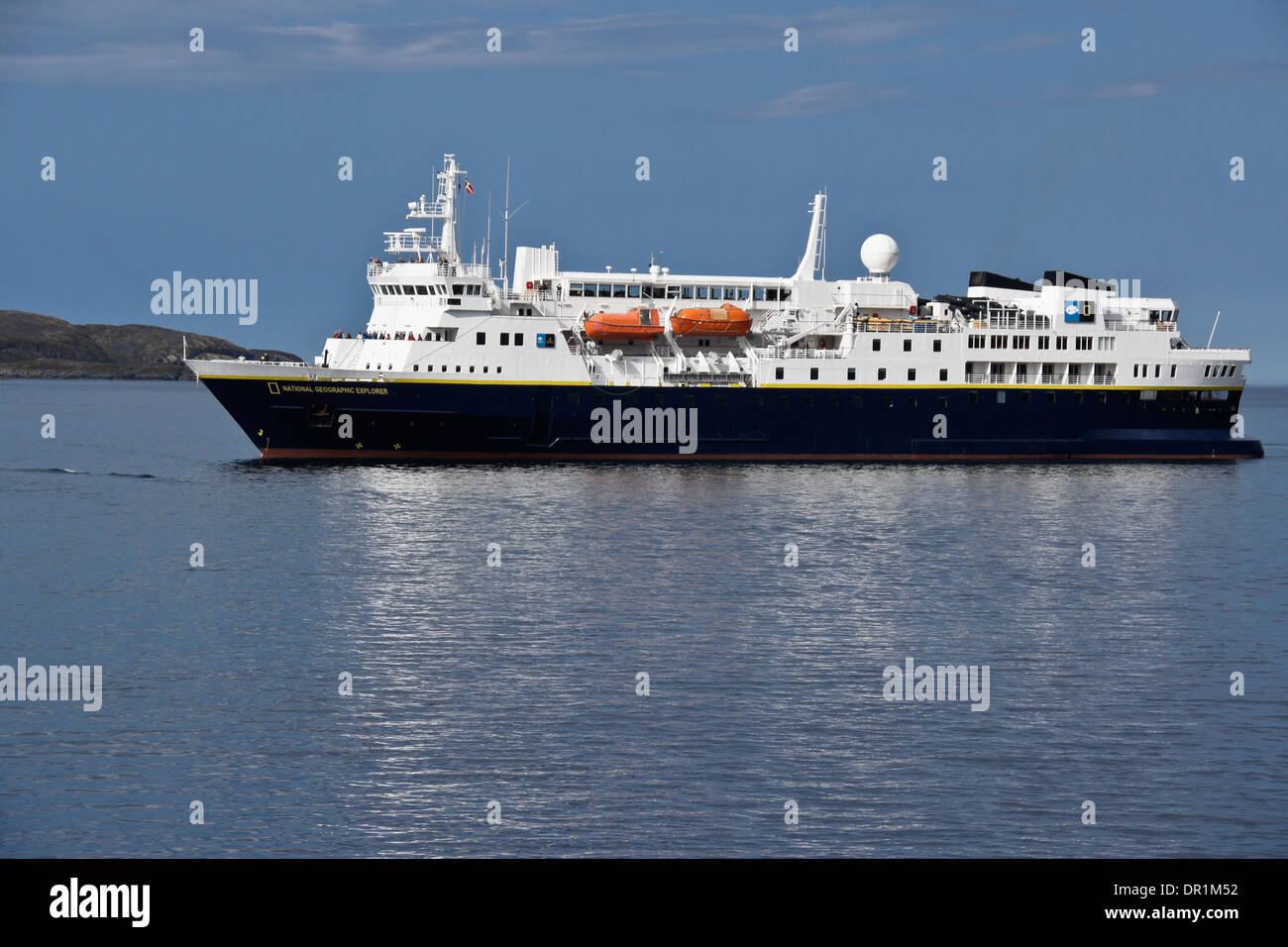 National Geographic Explorer cruise ship in harbor, Sisimiut (Holsteinsborg), West Greenland - Stock Image