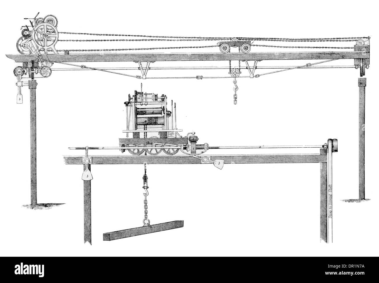 Patent Steam Traveling Crane. Exhibited by M Nicol and Vernon Liverpool. circa 1889 - Stock Image