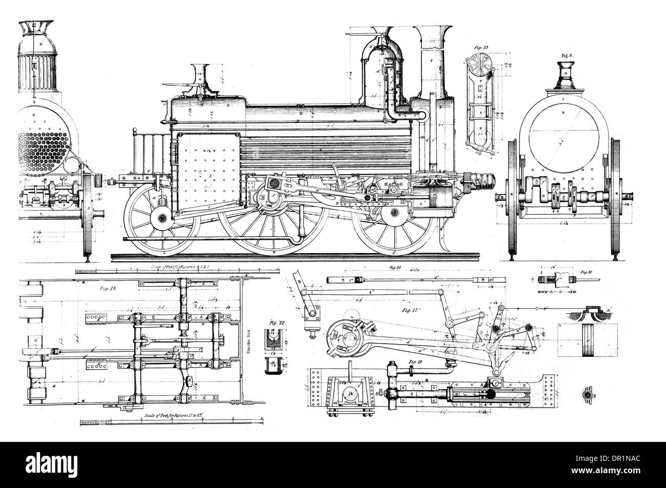 train engine of the london and south western railway no 8a circa 1860 -  stock image