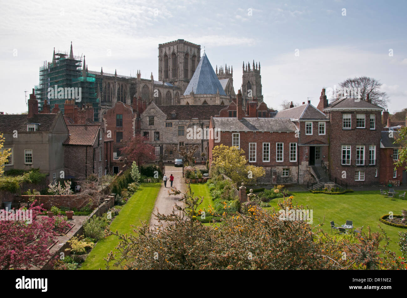 Scenic high view of 3 historic Grade 1 buildings - Minster, Treasurer's House & Grays Court - from city walls in York, North Yorkshire, England, UK. - Stock Image
