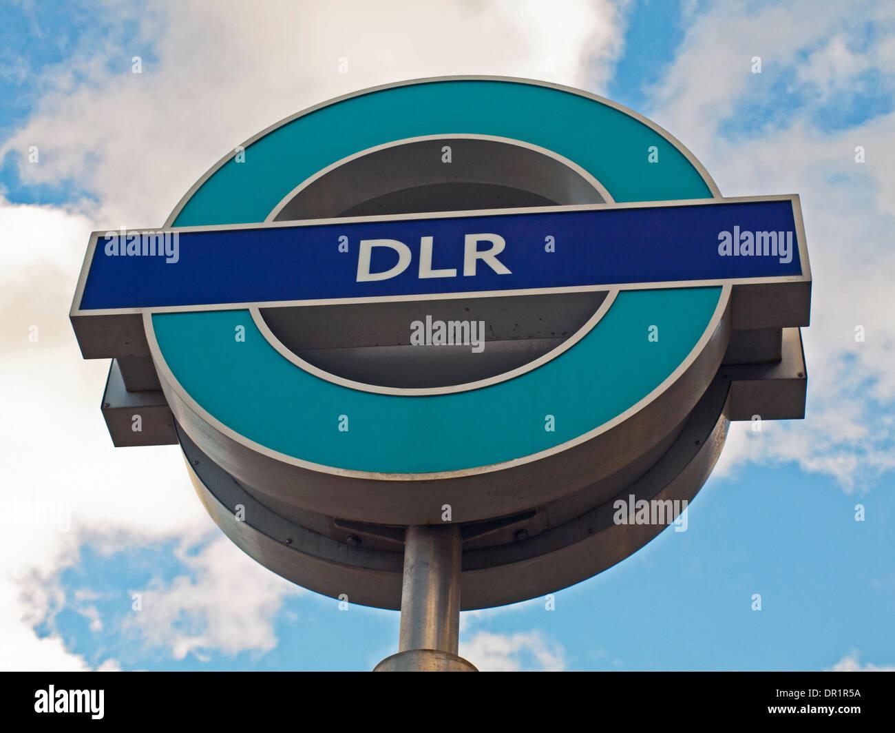 West Silvertown DLR Station roundel, East London, London, England, United Kingdom - Stock Image