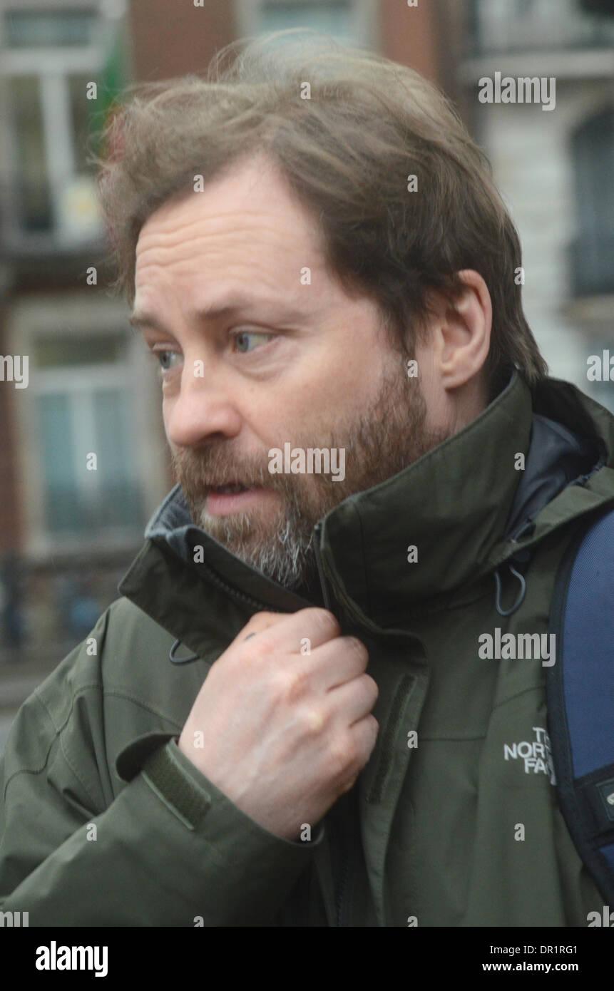 London, UK. 17th Jan, 2014.Ardal O'Hanlon feels the cold outside BBC Radio studiod London 17/01/2014 Credit:  JOHNNY Stock Photo