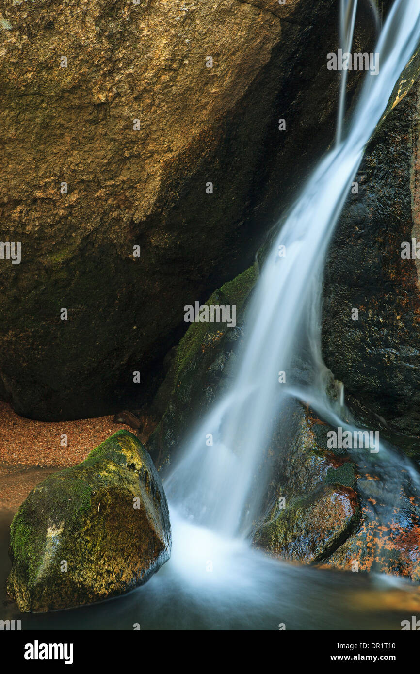 Rocks and waterfall, En Medio River, Santa Fe National Forest, New Mexico USA - Stock Image