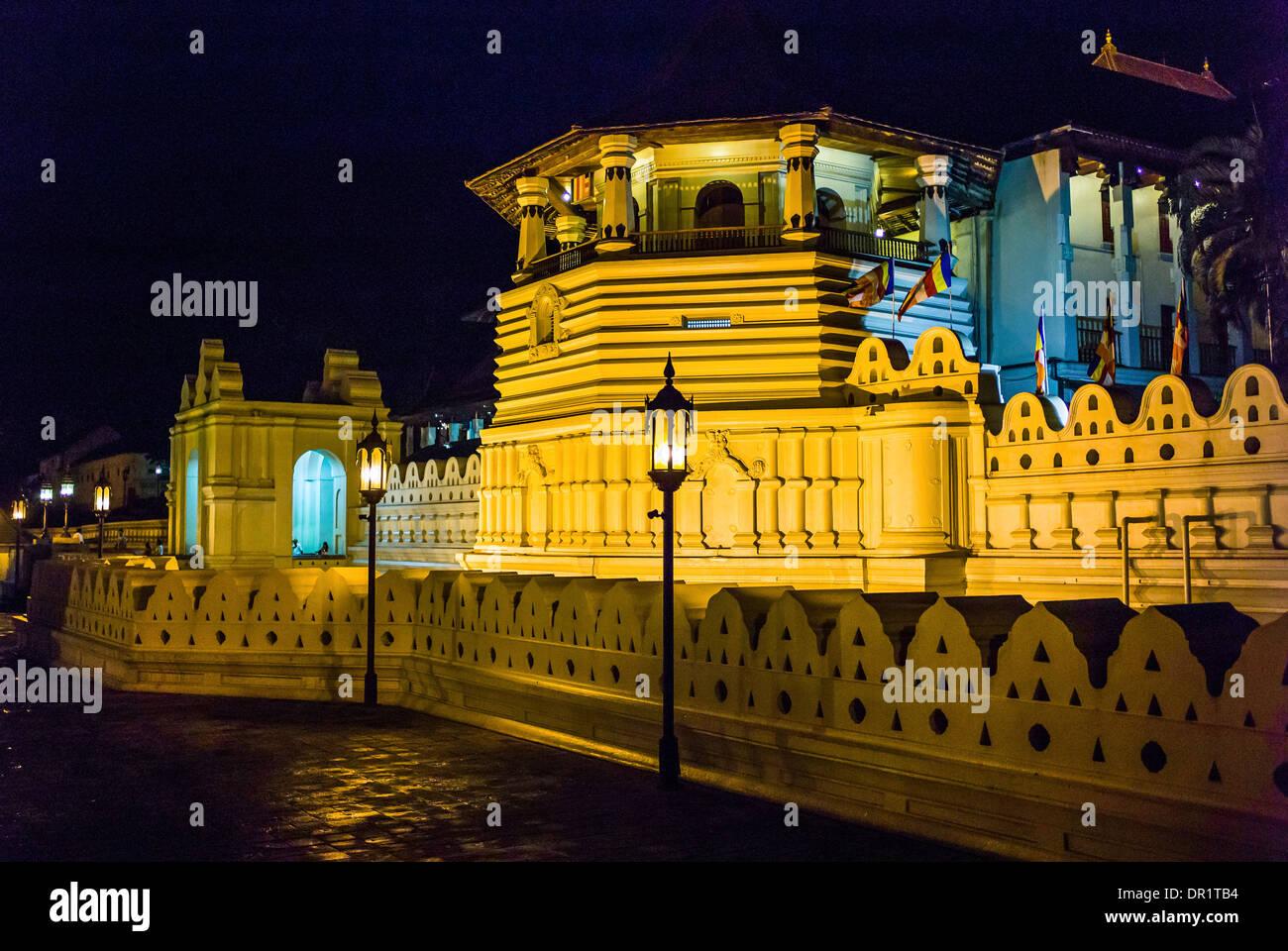 Sri Lanka, Kandy, night view of the Royal Palace Stock Photo