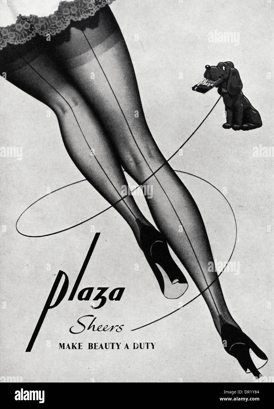 1950s advertisement advertising PLAZA stockings. Advert in womens fashion magazine circa 1952. - Stock Image