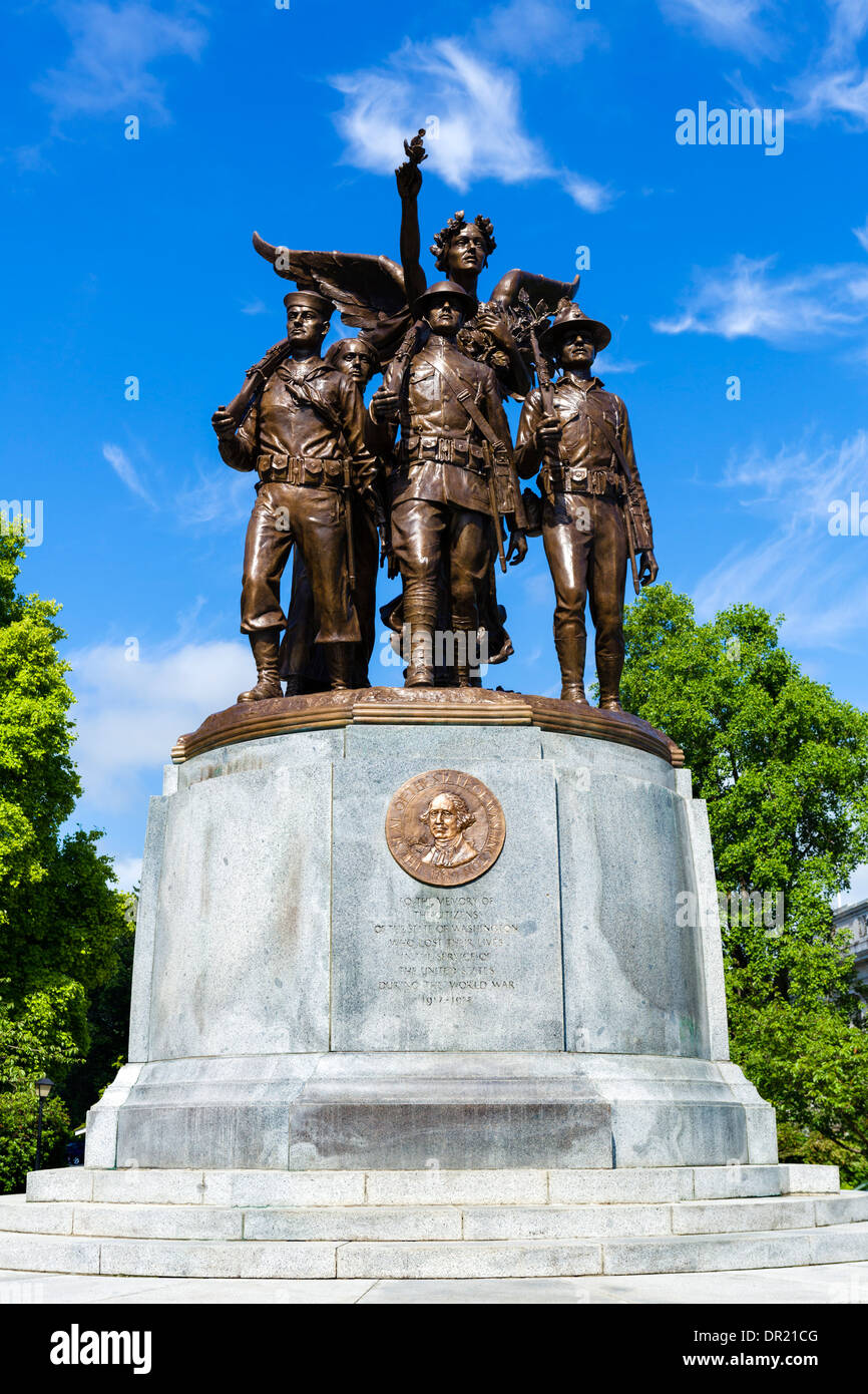First World War memorial outside the Washington State Capitol, Olympia, Washington, USA - Stock Image