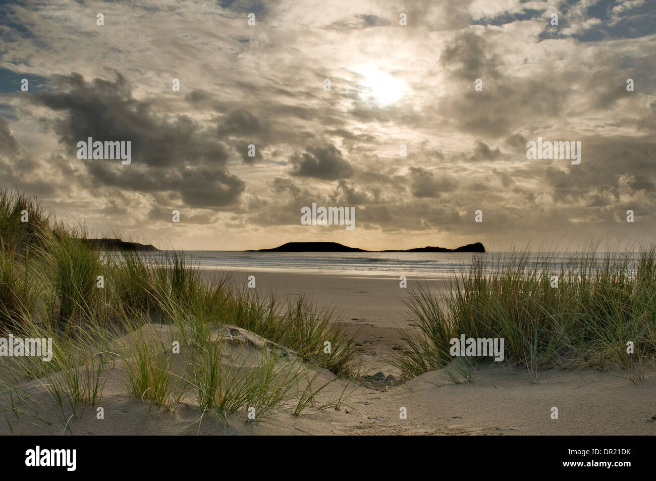 Rhossili Bay viewed from Hillend Burrows Stock Photo