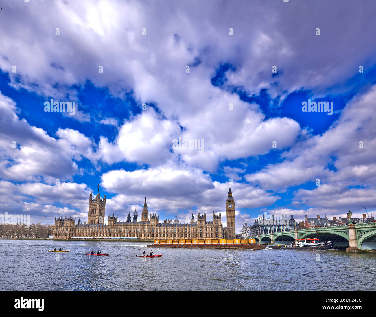 The Palace of Westminster is the meeting place of the House of Commons and the House of Lords - Stock Image