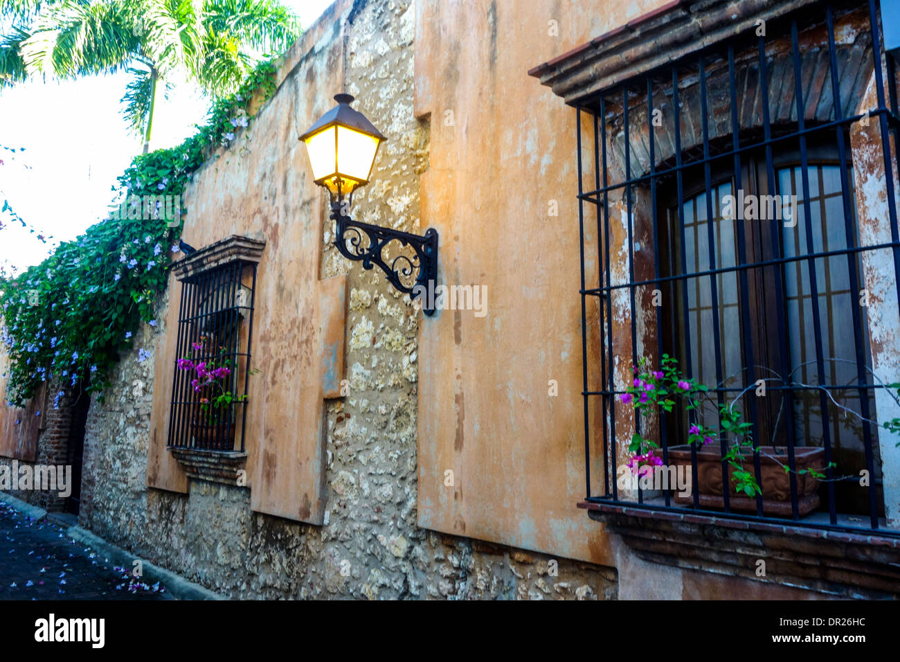 old street in the Zona Colonial; Santo Domingo; Dominican Republic - Stock Image