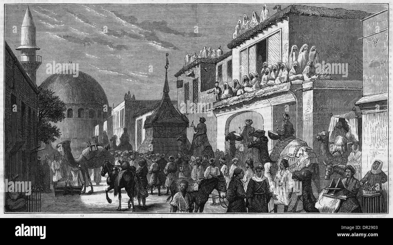 PILGRIMS AT DAMASCUS - Stock Image