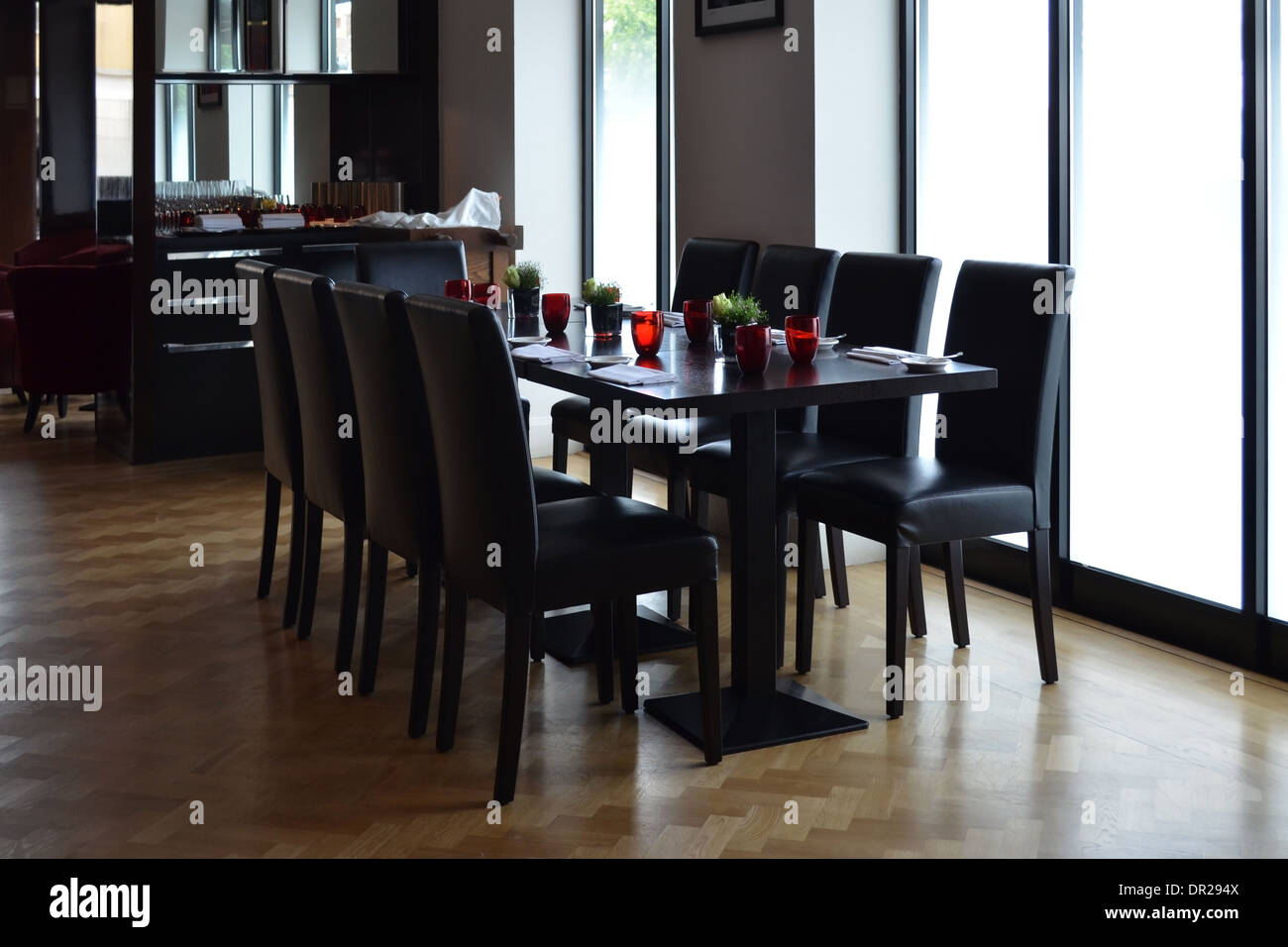 A large dining table at Alimentum Restaurant, Cambridge - Stock Image