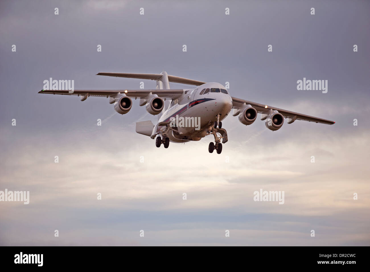 BAe 146-100 four engined jet approaching RAF Lossiemouth.  SCO 9240 - Stock Image