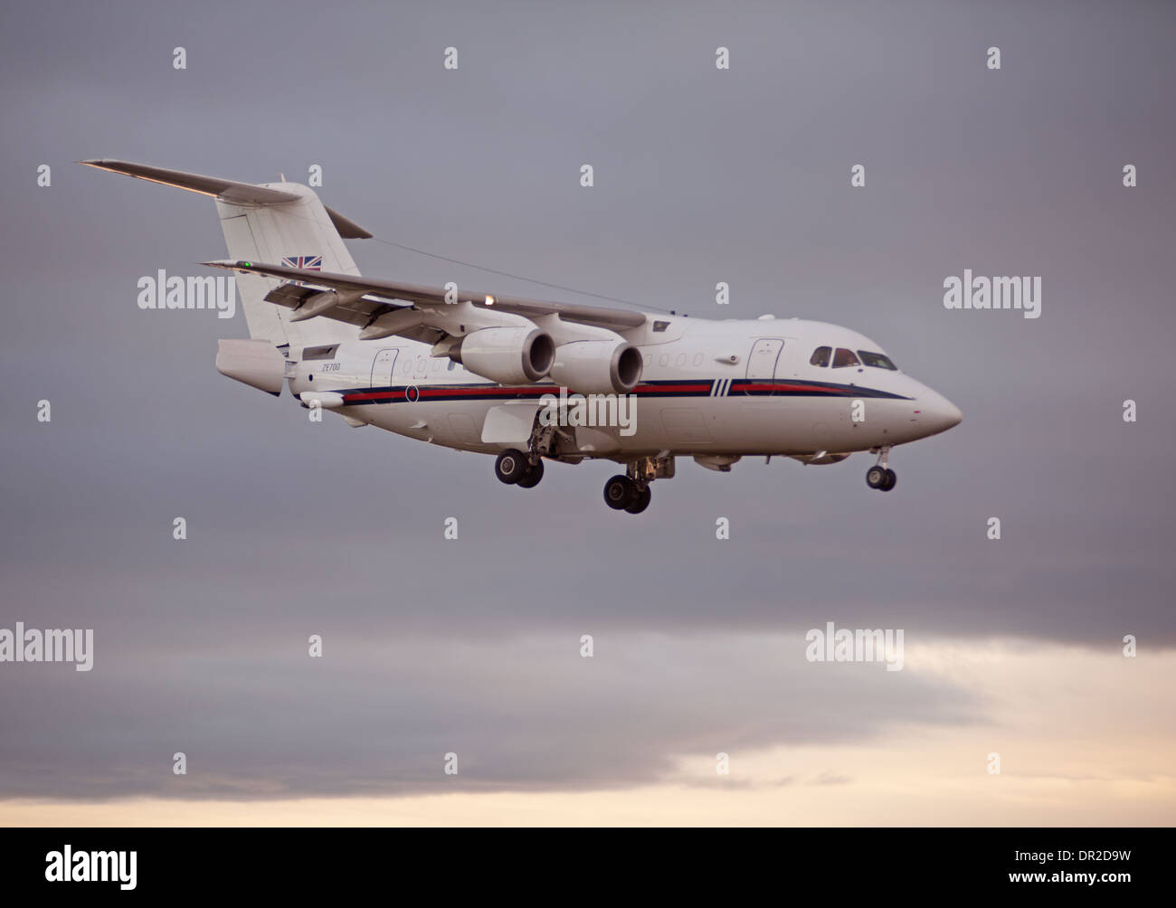 BAe 146-100 four engined jet approaching RAF Lossiemouth.  SCO 9241. - Stock Image