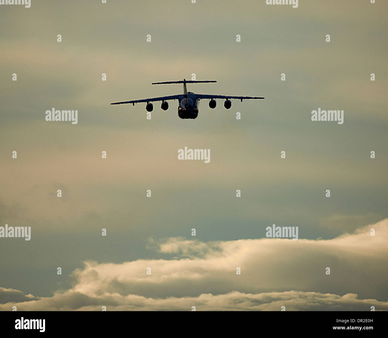 BAe 146-100 four engined jet departing RAF Lossiemouth.  SCO 9243 - Stock Image