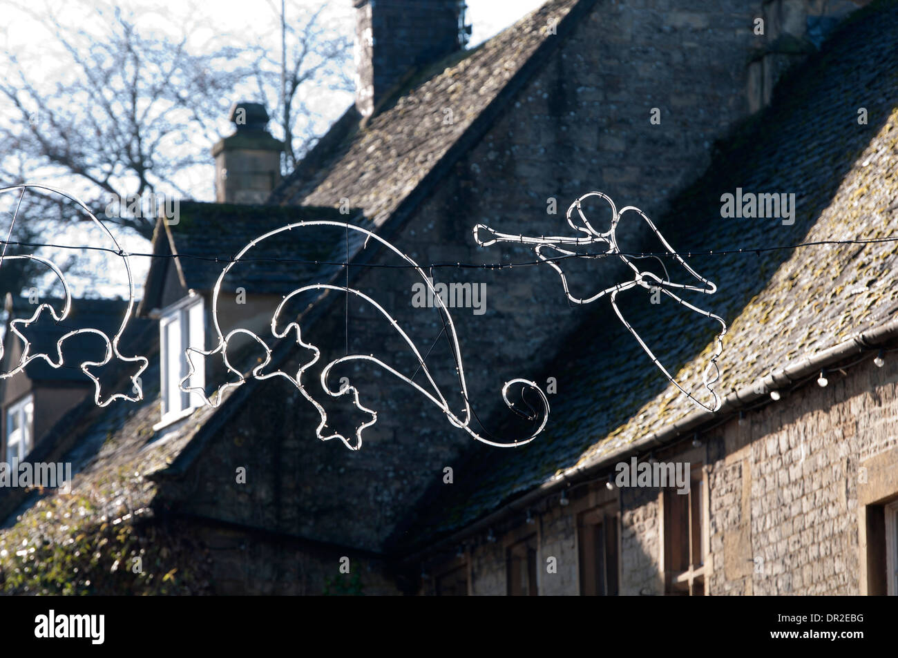 Christmas lights in daytime, Stow-on-the-Wold, Gloucestershire, UK - Stock Image