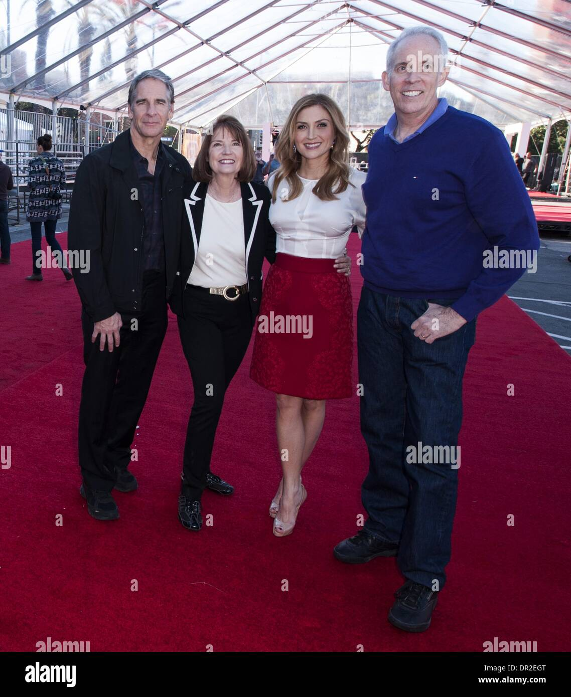 Los Angeles, California, USA. 17th Jan, 2014. The Red Carpet Roll Out Crew for this year's 20th SAG Awards, from left, SAG Award Committee Member, Scott Bakula , SAG Awards Executive Producer, Kathy Connell, SAG Awards Social Media Ambassador Sasha Alexander, and SAG Award Committee Member Daryl Anderson.----The Screen Actors Guild made their final preparations on Friday morning January 17, 2014, for what will be this year's 20th SAG Awards event Saturday, January 18, 2014 at the Shrine Auditorium in Los Angeles. Set-up crews pulled out the red carpet as they finalized lighting and place tv - Stock Image