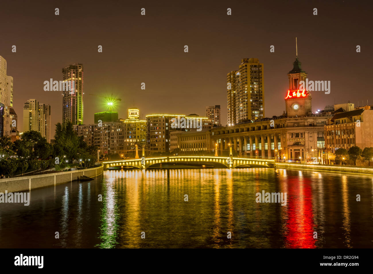 Night View of Shanghai Postal Museum, Shanghai, China - Stock Image