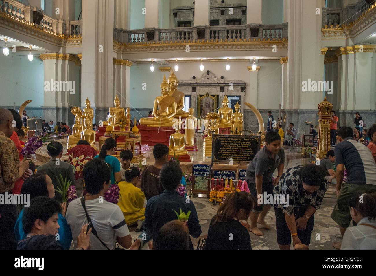 Inside Wat Sothon Wararam Woraviharn at Chachoengsao, Thailand - Stock Image