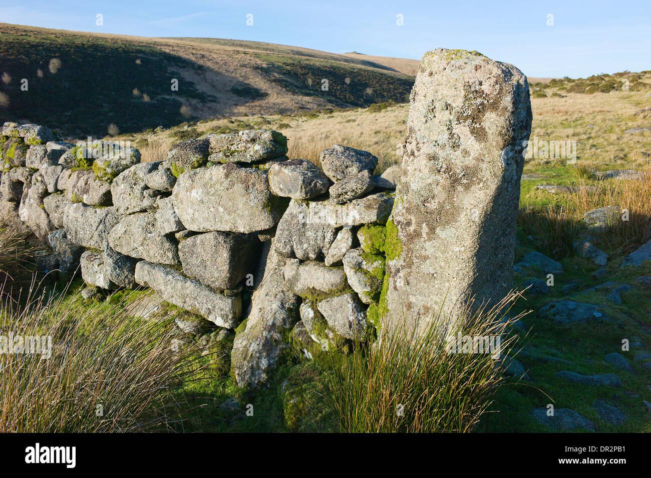 Gateway through a granite drystone wall in West Dart river valley towards Beardown Tors, Dartmoor, Devon - Stock Image