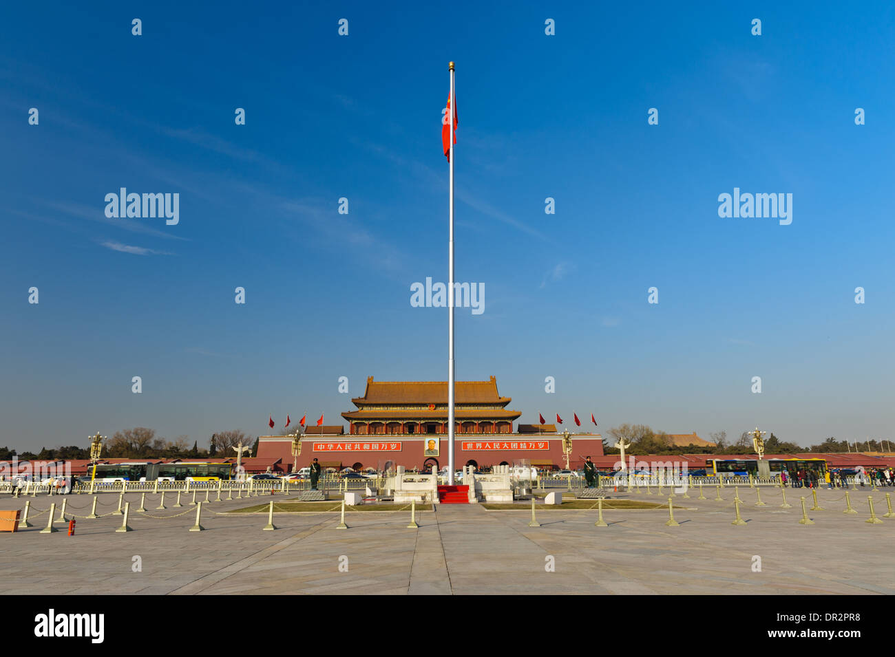 The Flag in front of Gate of Heavenly Peace on Tiananmen Square. Beijing, China - Stock Image