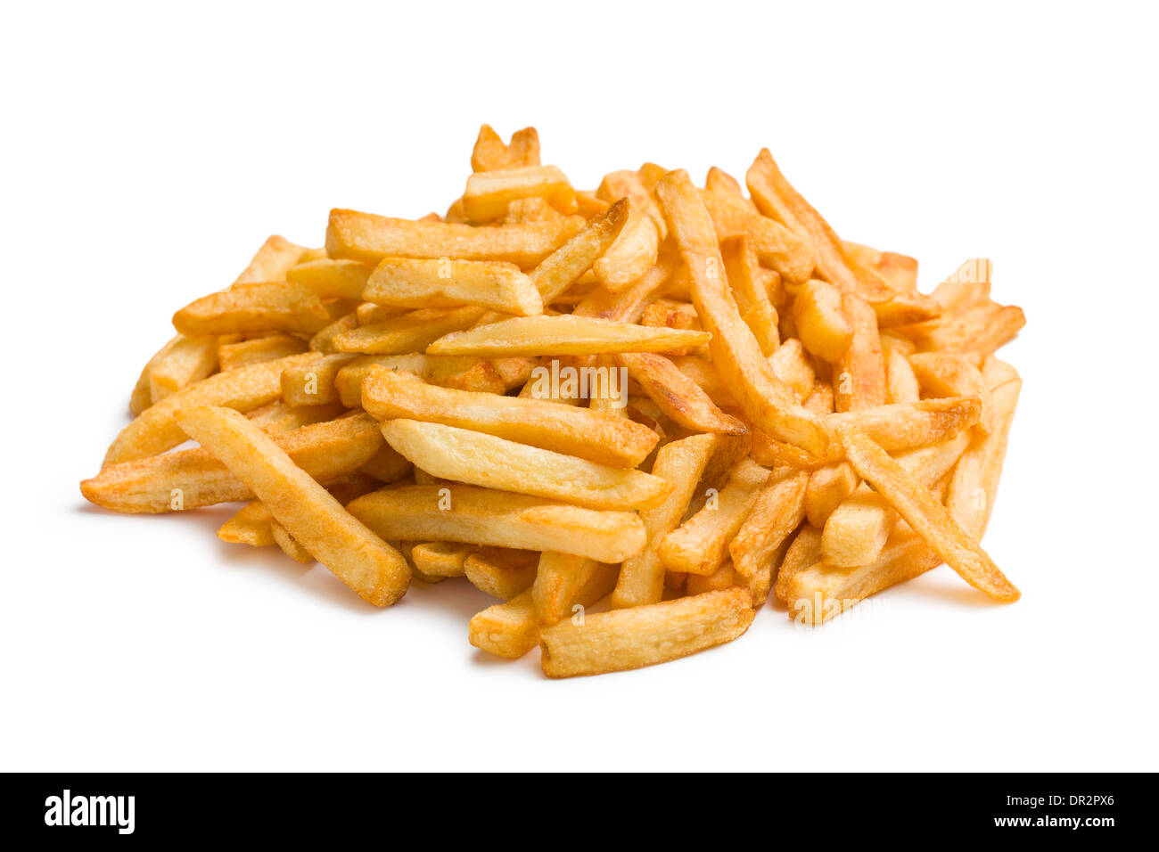pile of french fries on white background - Stock Image