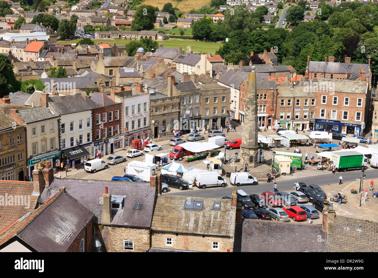 Richmond from the Castle Keep looking over Market Square Richmond North Yorkshire England - Stock Image