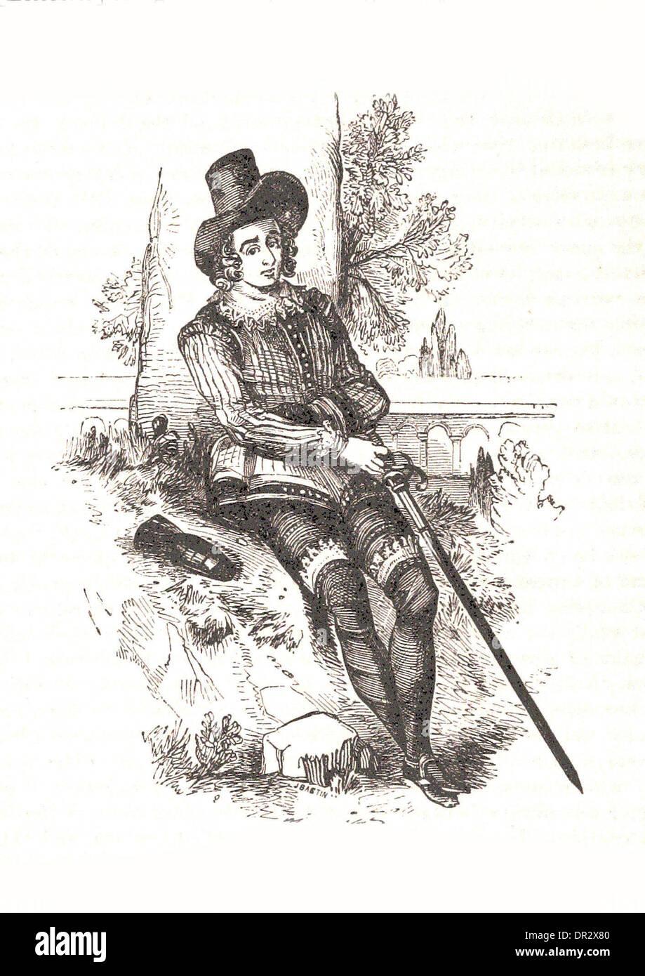Portrait of Sir Philip Sidney - Britsh engraving - Stock Image