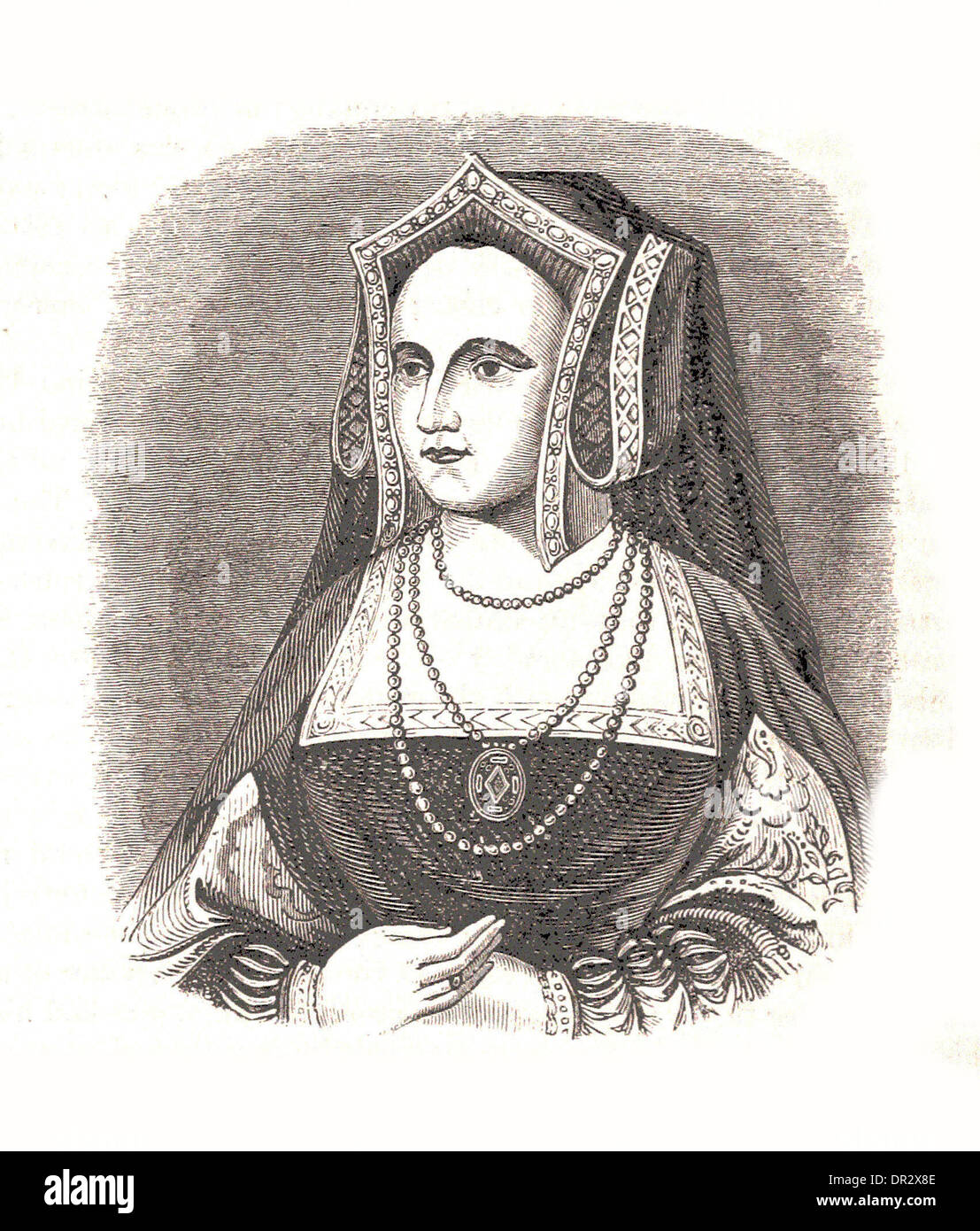 Portrait of Queen Catherine Parr - Britsh engraving - Stock Image