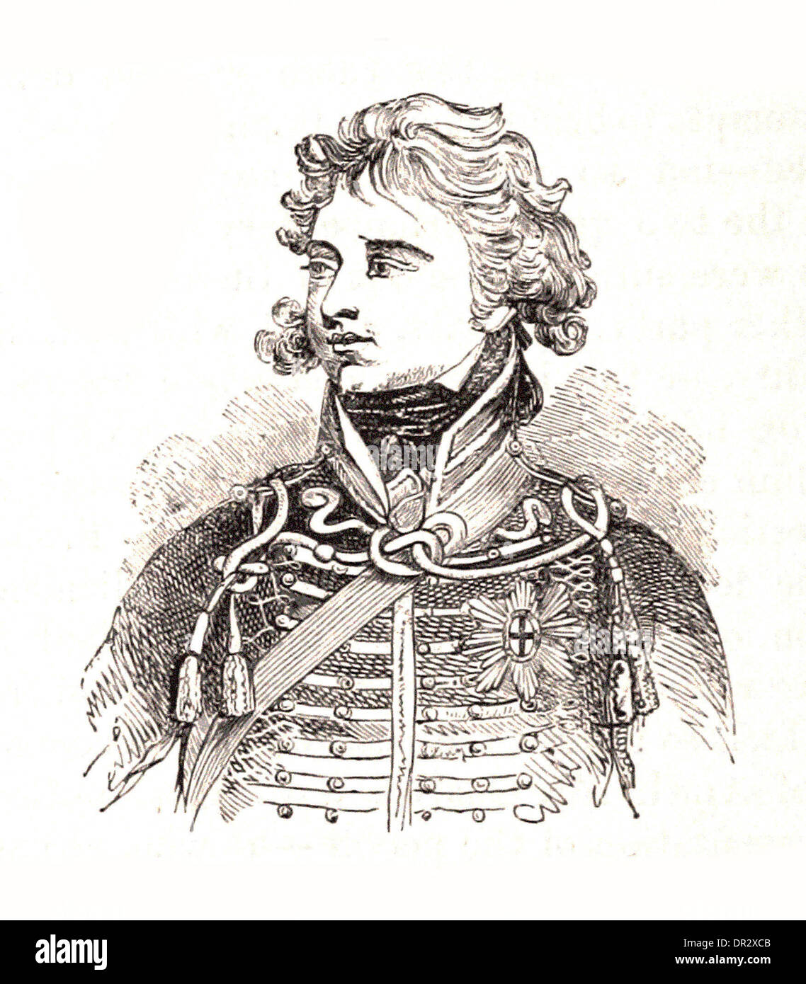 Portrait of Prince of Wales - Britsh engraving - Stock Image
