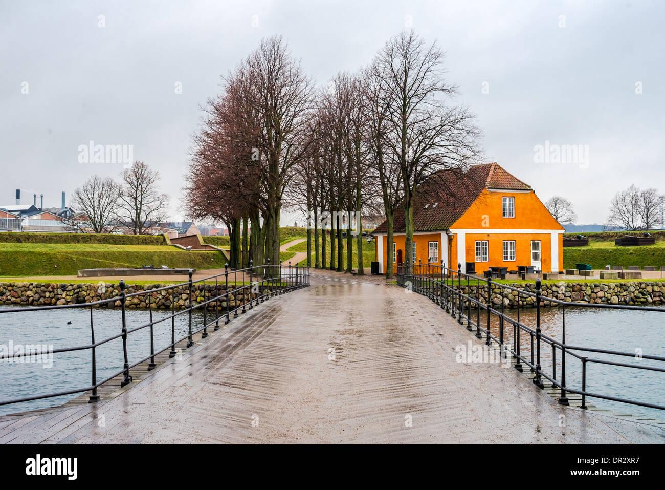 The entrance of Danish castle Kronborg in Helsingor - Stock Image