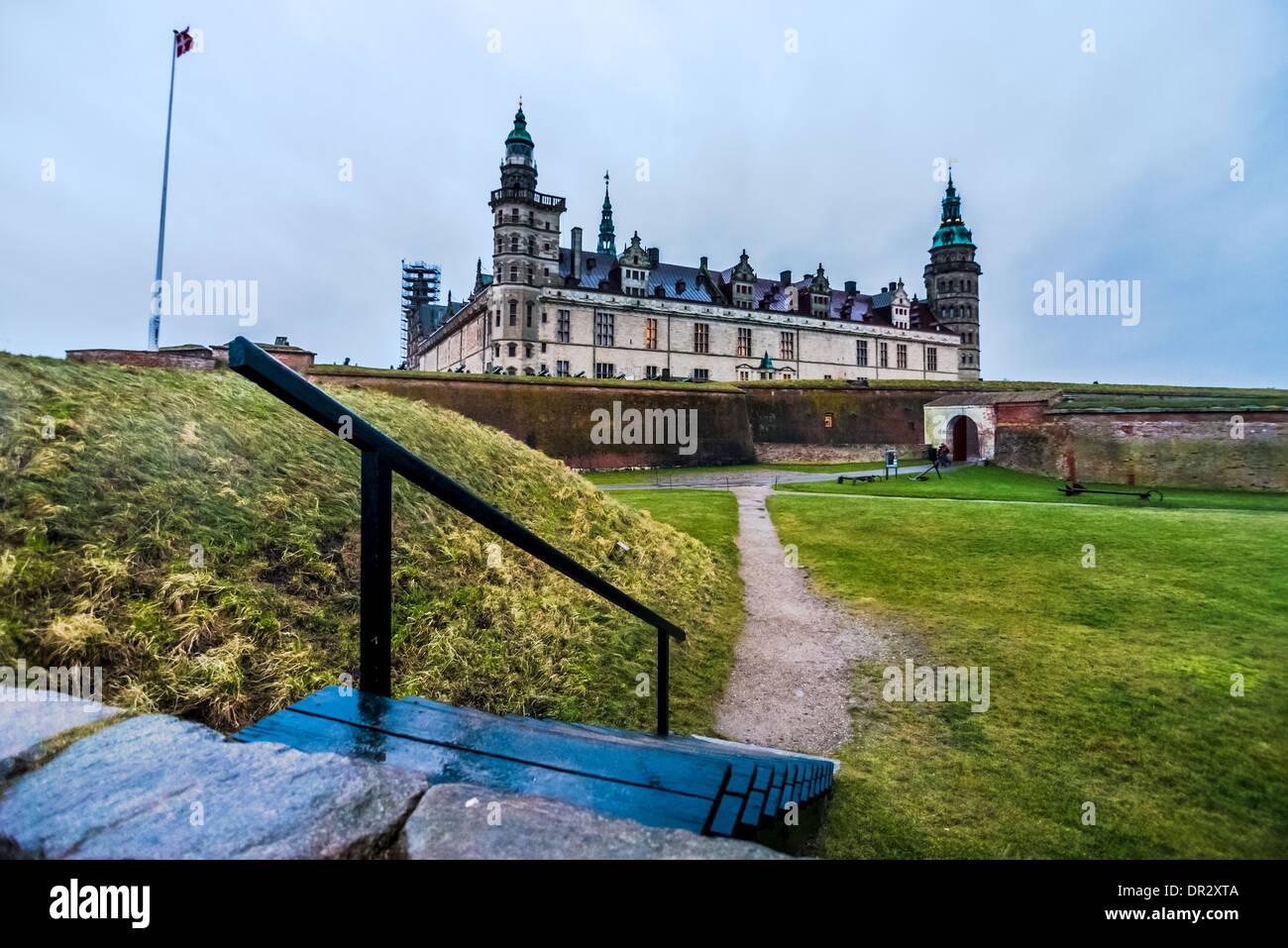 The Danish castle Kronborg in Helsingor - Stock Image