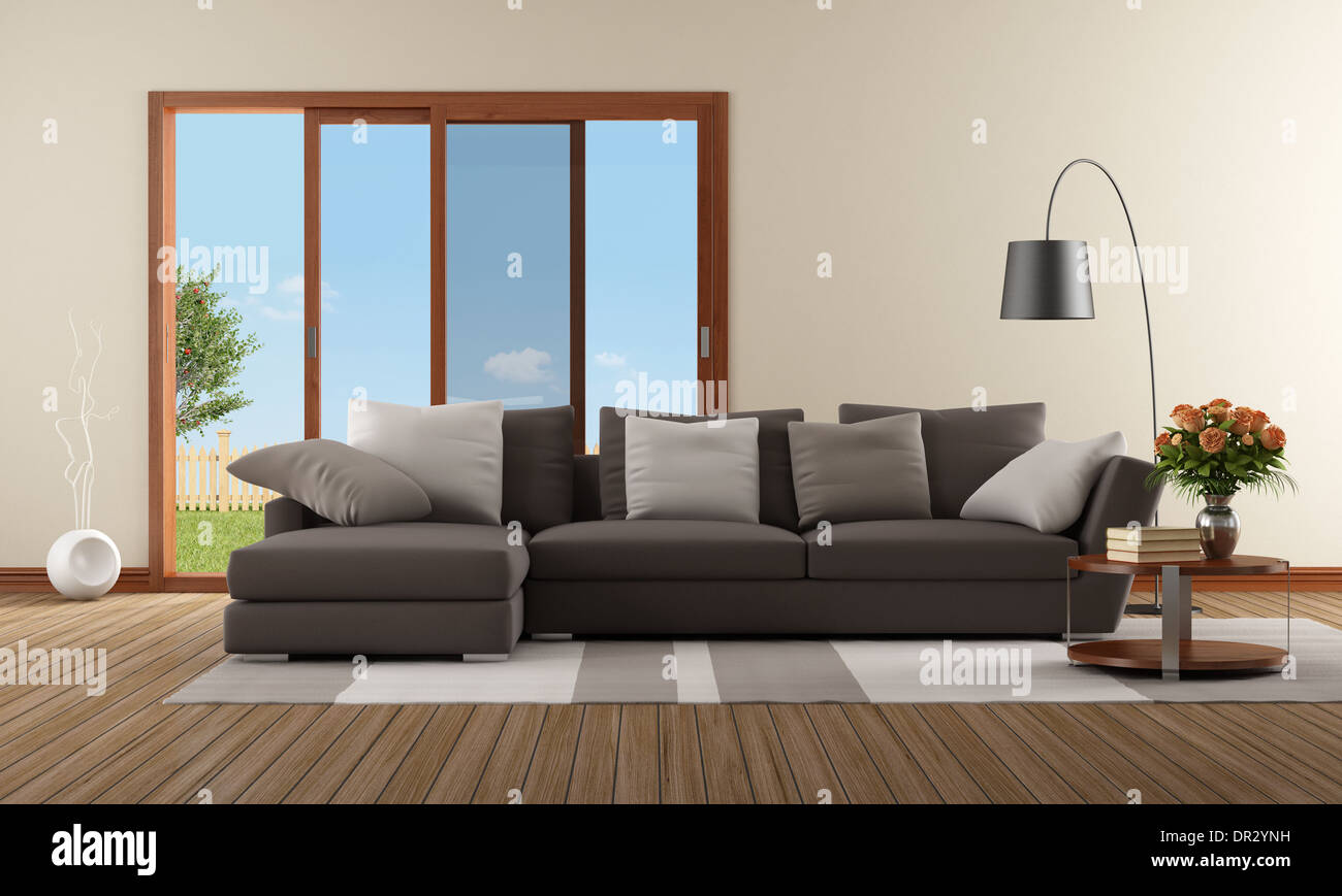 Fabulous Modern Living Room With Brown Sofa And Sliding Window Pabps2019 Chair Design Images Pabps2019Com