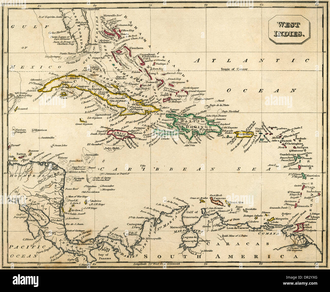 Map Of British West Indies Stock Photos & Map Of British West Indies ...