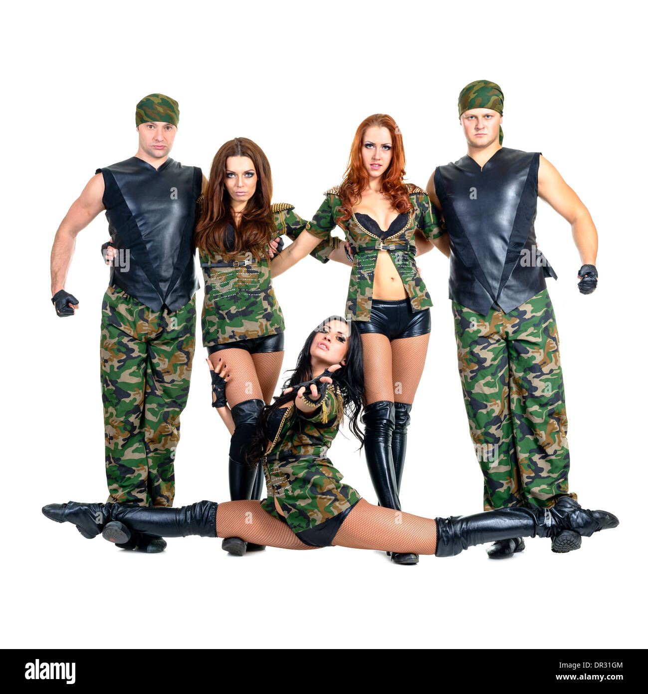 dde9ba2f2c15 military dancer team dressed in camouflage costumes Stock Photo ...