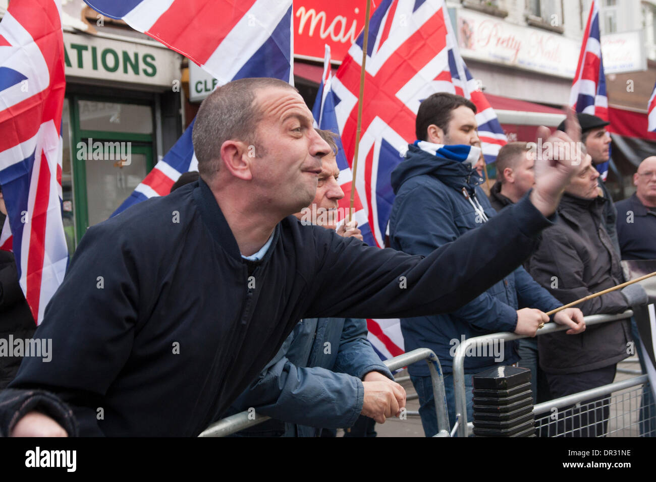 London, UK. 18th Jan, 2014.  'Patriot' group Britain First demonstrates in Cricklewood, North London against the establisment of an office by Egypt's outlawed Muslim Brotherhood. Credit:  Paul Davey/Alamy Live News - Stock Image