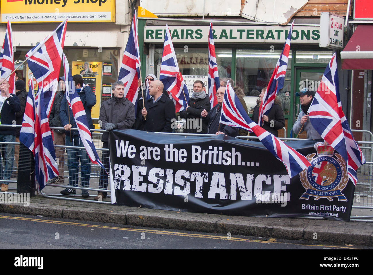 London, UK. 18th Jan, 2014.  'Patriot' group Britain First demonstrate in Cricklewood, North London against the establisment of an office by Egypt's outlawed Muslim Brotherhood. Credit:  Paul Davey/Alamy Live News - Stock Image