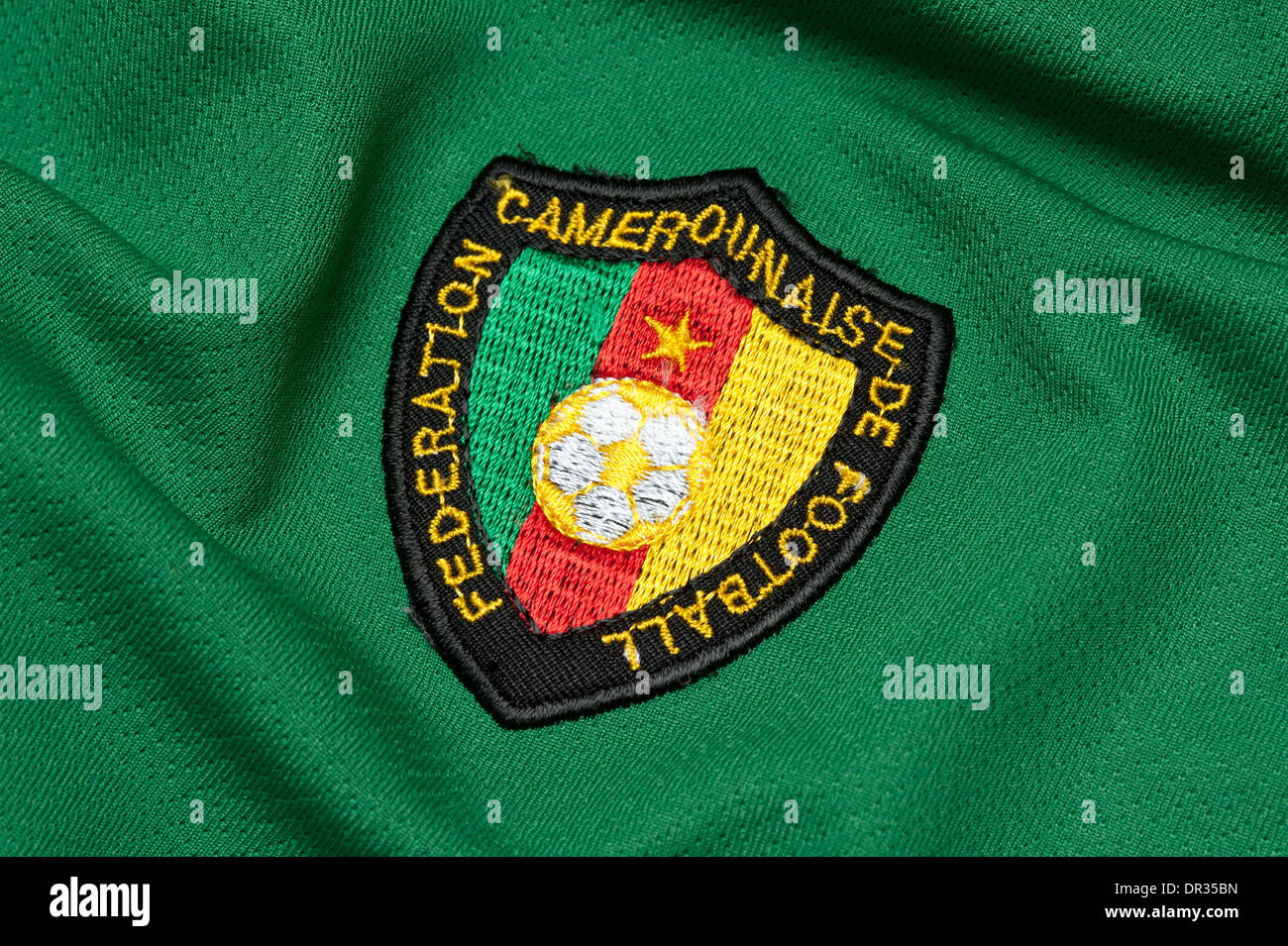 Close up of the Cameroon national team football kit - Stock Image