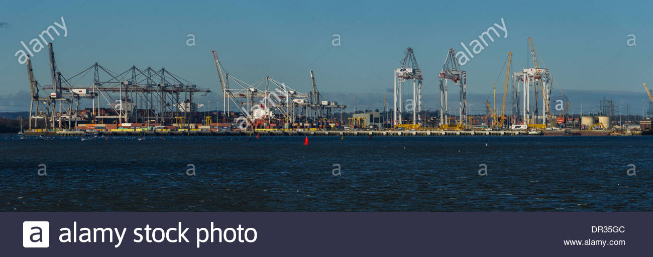 Cranes Loading Containers Port of Southampton Hampshire England Panoramic. - Stock Image